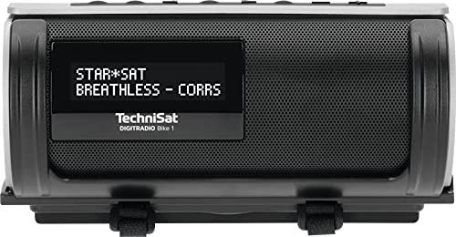 TechniSat DIGITRADIO Bike 1 – DAB+ Fahrrad Radio (DAB, UKW, IP65 wasserabweisendes Gehäuse, OLED-Display, Bluetooth-Audiostreaming, Universalhalterung für Lenker/Rahmen, Akku, 2 Watt) schwarz/Silber