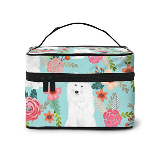 Make-Up Bags Samoyed Dogs Floral Dog Large Makeup Portable Travel Cosmetic Bags Professional Train Cases