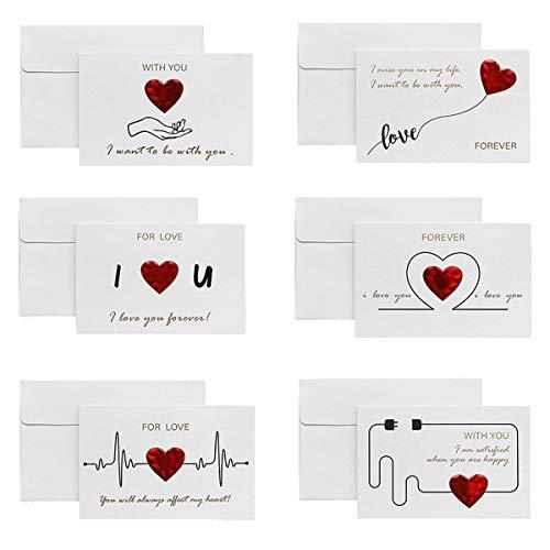 6 PCS Tarjeta de felicitación para San Valentín, ANBET Tarjeta de San Valentín Amor romántico Tarjeta de feliz aniversario Regalos con sobres para novia Novio Esposo Esposa