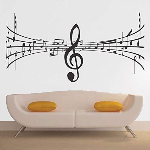 Lamubh Pestañas Notas Musicales Patrón Creativo Etiqueta de la Pared para música Sala de Estar Decoración de Arte Calcomanías de Vinilo Dormitorio Murales Pegatinas 112X57cm