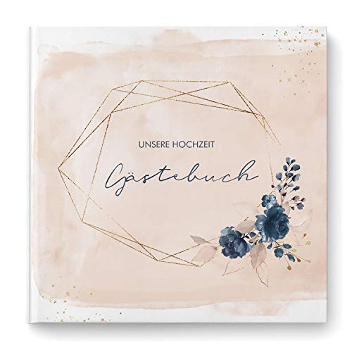 Gästebuch zur Hochzeit mit Fragen & Einleitungstext | Hardcover quadratisch 104 Seiten | Watercolor Breeze (rosé)