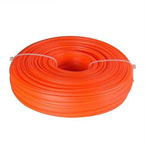 Huante Nylon Strimmer Trimmer Línea 2,4 mm x 65 M Heavy Duty Brush Cutter Square Core Wire - Naranja