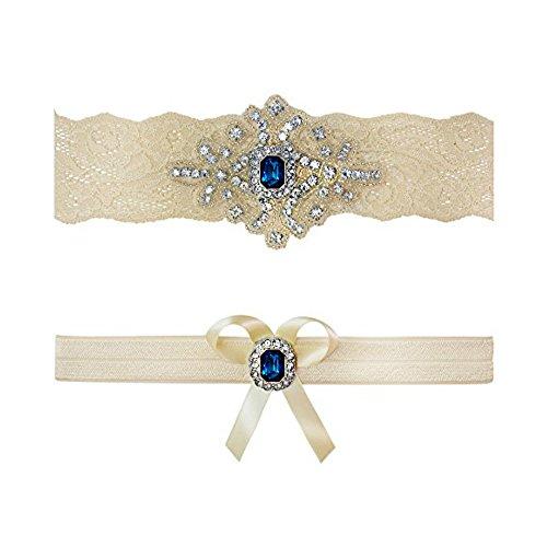 Ivory Sapphire Blue Wedding Bridal Garter Set Keepsake Toss (Medium (18
