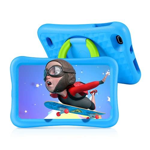Tablette Enfants HD 8 Pouces, 32Go+128Go Stockage, 2Go RAM, Contrôle Parental, Kidoz APP, 3CM Coque Renforcée, 360° Rotatif Support, Android 9.0, GPS, Bluetooth, WiFi
