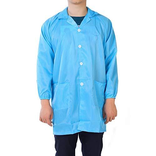 Anti Static Peto Unisex ESD Lab Coat Stripes Button Up Revel Collar XXL Azul