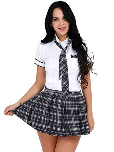 Aislor Disfraz Colegiala Sexy Mujeres Uniforme Escolar Cosplay Camiseta Manga Corta con Corbata Minialda Plisada a Cuadros Top y Falda Clubwear S-3XL Blanco, Azul Marino L