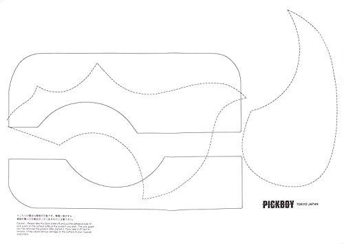 Pickboy Pickguard Rohmaterial selbstklebend Transparent mit Schablonen