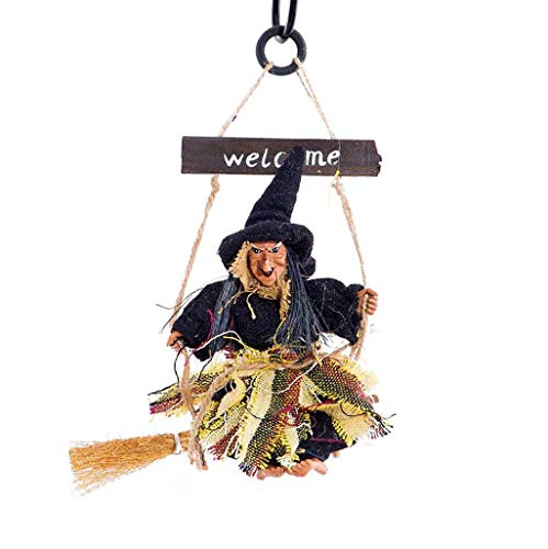 Shan-S Wall Hanging Witch Decorations Toys,Vintage Wooden Halloween Hanger Ornaments Flying Witches Haunted House Props Party Decor,Prop Decor Yard Outdoor Indoor Bar Club KTV Kids Gift