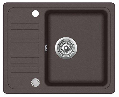 Granitspüle Küchenspüle in versch. Farben Einbauspüle Granit inkl. Drehexcenter, Ab- und Überlaufgarnitur reversibel ab 45/50er Spülenunterschrank (braun)