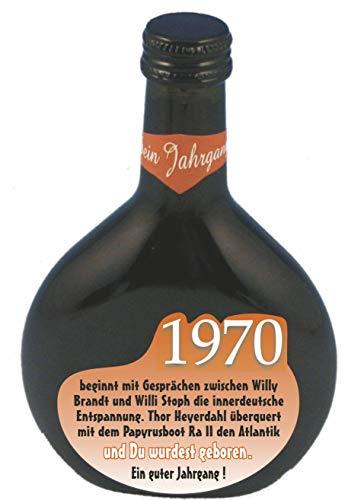 QUATSCHmanufaktur Bocksbeutel zum 50. Geburtstag (für Jahrgang 1970) Rotwein 0,25 l