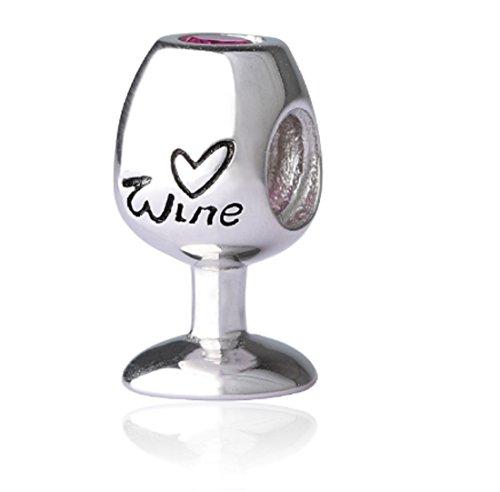 FeatherWish - Ciondolo a forma di calice di vino, in argento Sterling 925, con zirconia cubica, compatibile con braccialetti e collane Pandora