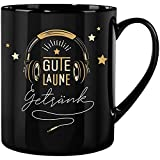 GRUSS & CO 47222 XL-Tasse Gute Laune Getränk, Steinzeug, 60 c, schwarz