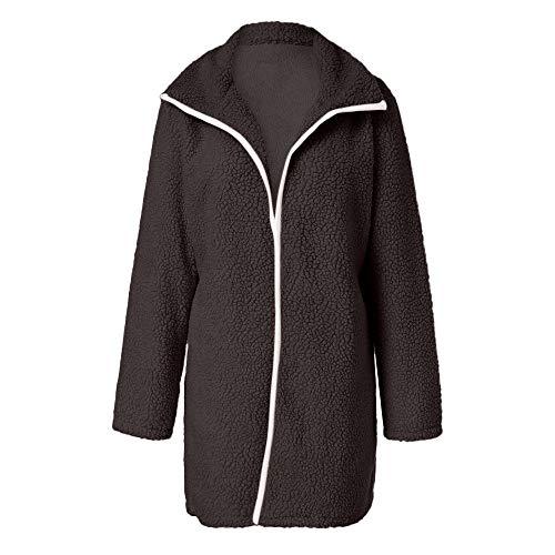 DOFENG Damen Herbst Winter Outing Stil Frauen Warm Volltonfarbe Elegante Langen Mantel Jacke Tops Outwear Hoodie Outwear Kapuzenpullover Strickjacke (Kaffee, XXX-Large)