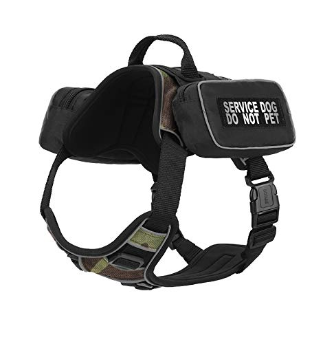 Dogline Quest No-Pull Dog Harness with Saddle Bag and Service Dog Do Not Pet Reflective Removable Patches Dog Vest with Quick Release Dual Buckles Black Hardware and Handle 25 to 31 in GreenCamo