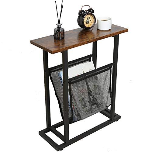 Mesa de extremo estrecho con almacenamiento, soporte para revistas de periódicos, mesa auxiliar para sala de estar, dormitorio, estudio, oficina en casa