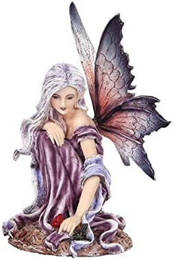 Pacific Giftware 5.25 Inch Fairyland Purple Winged Fairy with Red Rose Statue Figurine