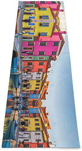 Toalla De Yoga Antideslizante,Colorido Venice Impresión Eco-Friendly Fitness Exercise Mat,Alfombras De Meditación,Ejercicios De Piso Impresos &Pilato Fitness Mat Para Mujer 183×61cm