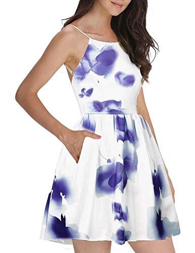 FANCYINN Damen Sommerkleid Armellos Spaghetti-Armband Kleider Elegant Rückenfreies Kurze Kleid Minikleid Multi color Blumen-M(38-40)