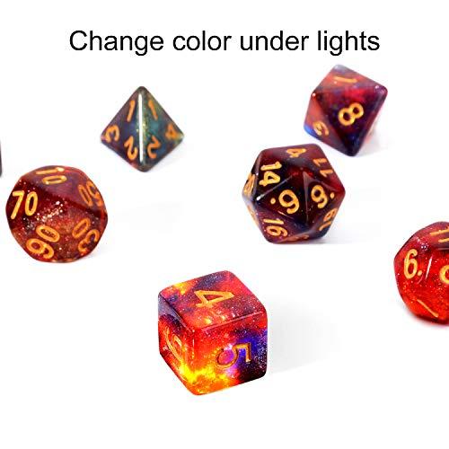 FLASHOWL D20 Würfel Sternenhimmel Farbe ändern unter Licht Würfel Milchstraße Würfel 4 Farben in einem Würfel Würfelspiele Tischspiele Würfel Set W20, W12, W10 und Würfel DND RPG MTG (7 Teile)