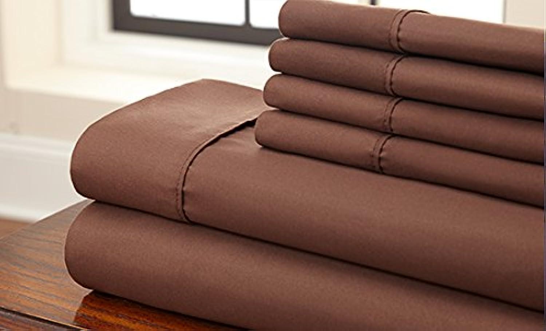 Dreamz Bedding Italien supérieure 600-thread-count Coton égypcravaten de lit 66cm Poche Profonde suppléHommestaire UK King, Chocolat Marron, Massif 600tc 100% Coton Parure de lit