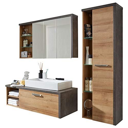 trendteam smart living Korpus Beton Stone Dekor Kombination Bay Badezimmer Set, braun, 4-teilige, 186 x 160 x 53 cm