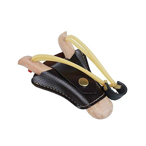 Flanacom Steinschleuder aus Holz mit Leder-Tasche zum befestigen an der Gürtelschnalle - Holz-Zwille + Erbsen - Schleuder Kinder & Erwachsene - Outdoor-Zwille im Handarbeits-Look (Einzel)