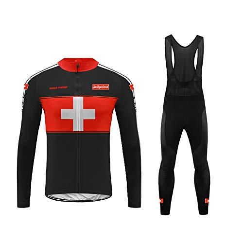 Uglyfrog Uomo Completo Ciclismo Abbigliamento Inverno Panno Termico Set di Abbigliamento Ciclista Maniche Lunghe Antivento Ciclismo Maglia-Due Pezzi