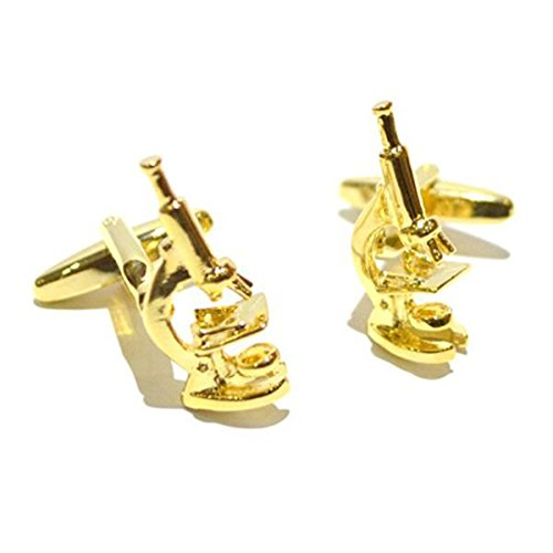 Gtr Men's Cufflinks X2AJ429 Gold Plated Scientific Microscope Cufflinks