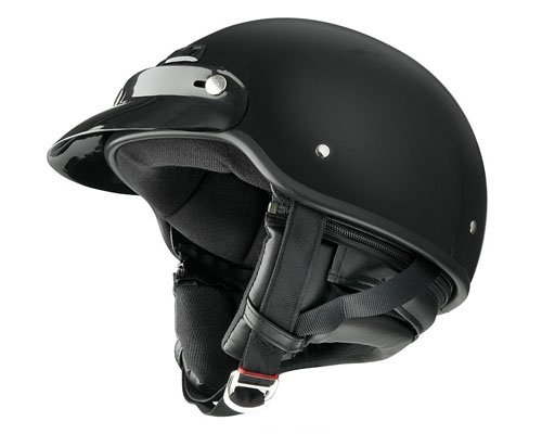 Raider Deluxe Half Helmet (Gloss Black, X-Large)