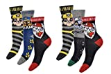 PawPatrol Socken Strümpfe für Jungen mit Marshall, Rocky, Rubble & Chase 6er Pack Neu (23/26)
