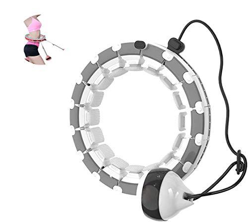 Azanaz Smart Hula Hoop, Einstellbar Breit Hula Hoop Reifen Fitness mit Massagenoppen Fitnessreifen Sportausrüstung Gymnastikreifen zum Abnehmen, Fitness für Erwachsene und Kinder Grau