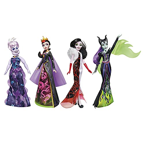 Disney Villains Black and Brights Collection, Fashion Doll 4 Pack, Disney Villains Toy for Kids 5 Years Old and Up (Amazon Exclusive)