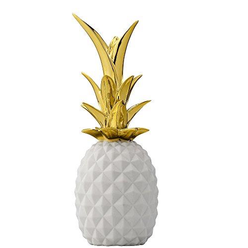 Bloomingville Deko Ananas Weiß-Gold, Durchmesser 9 x Höhe 24 cm