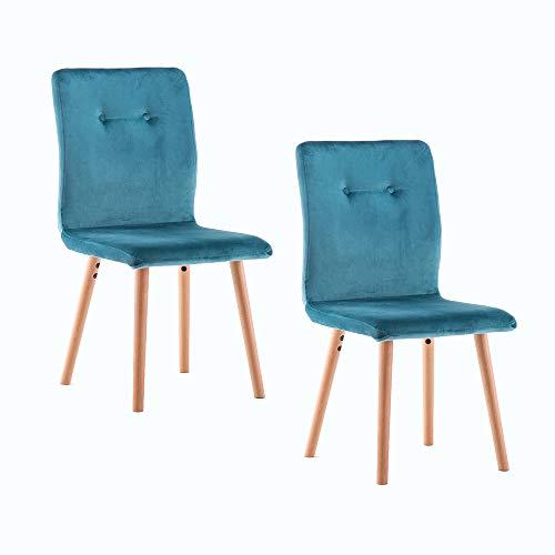 Marca Amazon -Movian Wye - Juego de 2 sillas de comedor, azul