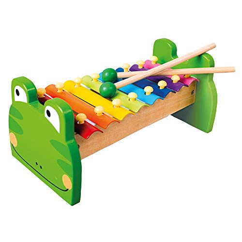 Mertens Xylophon Frosch, Spielzeug für Kinder ab 1,5 Jahre (Musikinstrument für Kinder aus Holz & Metall, 8 Klangplatten, kindgerechtes Frosch-Design, Holzspielzeug inkl. 2 Holz-Schlägel), Mehrfarbig