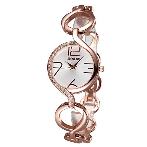 LBBL Reloj Mujer Moda Pulsera Cadena Hueca Reloj Pulsera Cuarzo Incrustaciones Cristal Dial Reloj de Mujer (SKU : Ca6511jj)