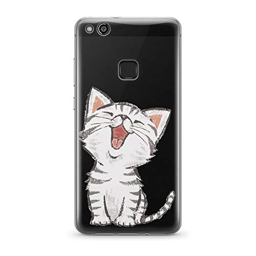 Finoo | Huawei P10 Lite Weiche Flexible Silikon-Handy-Hülle | Transparente TPU Cover Schale mit Motiv | Tasche Case Etui mit Ultra Slim Rundum-Schutz | Kleine Katze
