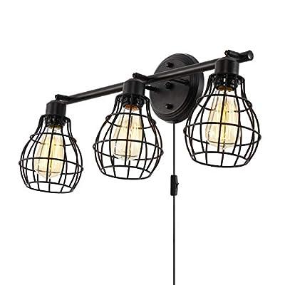 Stepeak Bathroom Vanity Lights,Industrial Wall Sconces Rustic Light Fixture Light Lamp,3-Light,Metal Wire Cage Design