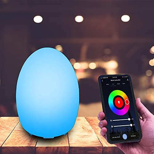 Smart RGB Night Light Egg Mood Lamp Control by APP Compatible with Alexa and Google Assistant,Rechargeable Dimmable Bedside Light for Bedrooms Decor, Living Rooms, Out Door, Kids, Nusery