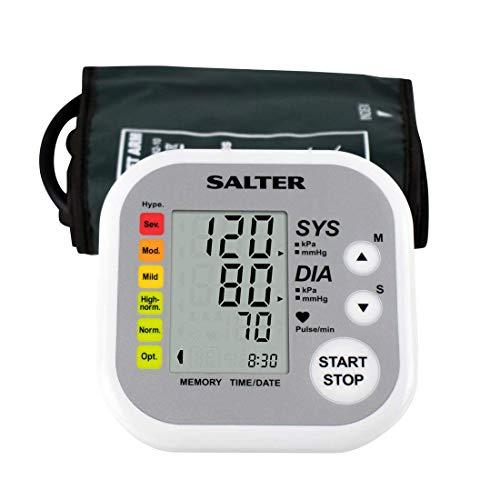 Salter Tensiómetro de brazo automático, Detector de pulso automático, medidor de presión arterial, capacidad de memoria de 60 lecturas