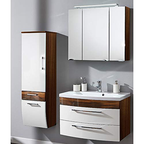 Badezimmermöbel Set Hochglanz Badmöbel Waschtisch LED Spiegelschrank Hochschrank