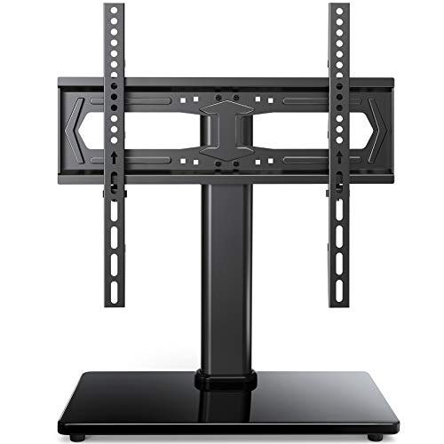 PERLESMITH Universal TV Stand-Table Top TV Stand Fits 23-55 inch Flat Curved Screen LCD LED OLED 4K TV and Monitor-Heavy Duty TV Base Compatible with VESA 75x75mm-400x400mm, Holds up to 88lbs PSTVS20
