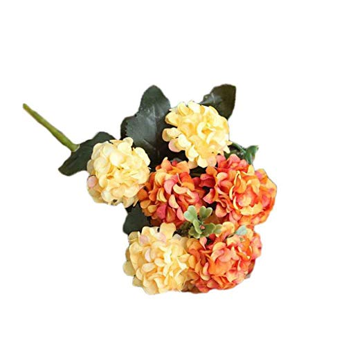 HenShiXin Puro 1 Ramo 10 Cabeza de Flor Artificial del Ramo de la Bola del crisantemo Oficina del jardín de Flores Mesa de Comedor falsificación Flor Elegante (Color : Orange)