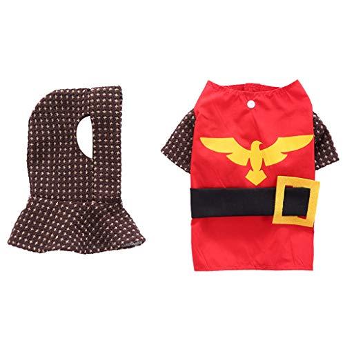 Yowablo Haustierhundekatze kleidet Ritterklage (XL,Rot)