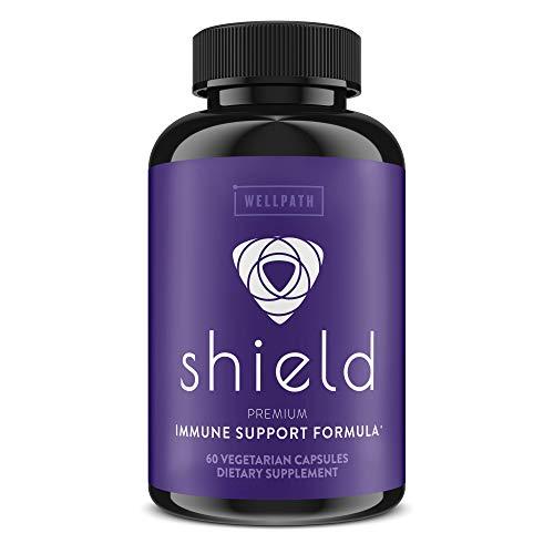 Shield Elderberry Capsules - 5-in-1 Immune Support Booster with Zinc, Vitamin C, Echinacea, Bee Propolis - Premium Zinc Supplement - 600 mg Sambucus Black Elderberry Pills for Adults - 60 Ct