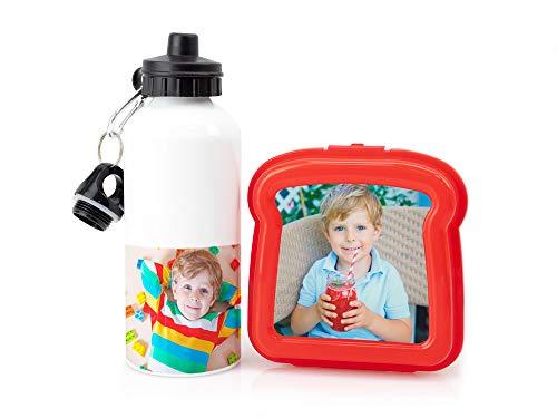 Regalo Original Kit Compuesto por una cantimplora de Aluminio Personalizada y una sandwichera Roja con Foto para merendar en la Vuelta al Cole