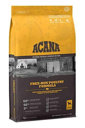 Acana Grain Free Dog Food, Free Run Poultry, Chicken, Turkey, and Cage-Free Eggs, 25lb