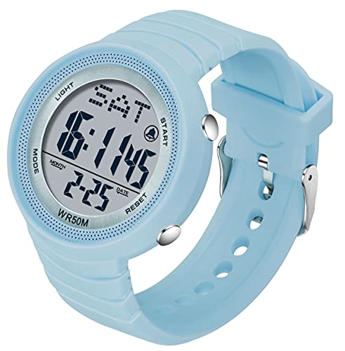 Reloj digital para mujer con pantalla de doble hora, cronómetro, luz trasera, alarma, a prueba de golpes, gran cara, regalo de cumpleaños para niñas, azul, Correa