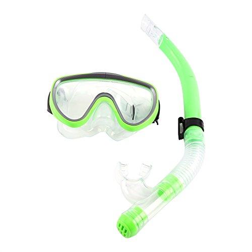 SANON Semi-Dry Snorkel Set, Gehard Glas Bril met Ademhalingsbuis Duiken Professionele Snorkeling Gear(zwart)