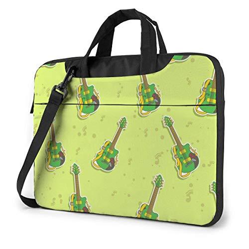15.6″Lightweight Laptop Notebook Shoulder Backpack Bag Green Cool Guitar Waterproof PC Briefcase Messenger with Strap